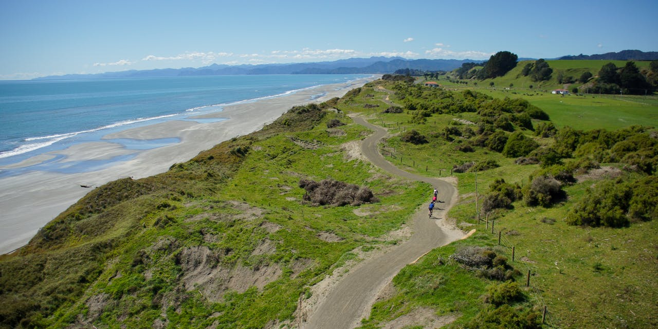 The 9.5km Dunes Trail is perfect for families. Photo: Motu Trails