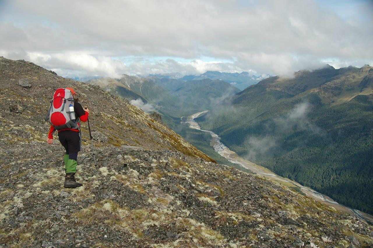 Easy ridge travel high above the Maruia valley. Photo: Jo Stilwell