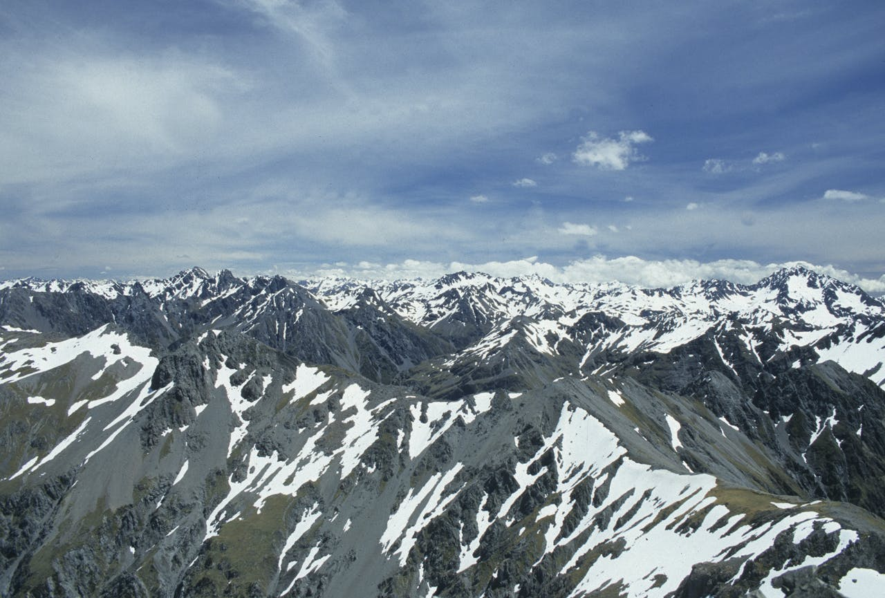A mountainous view from the summit of Mt Valiant. Photo: Pat Barrett