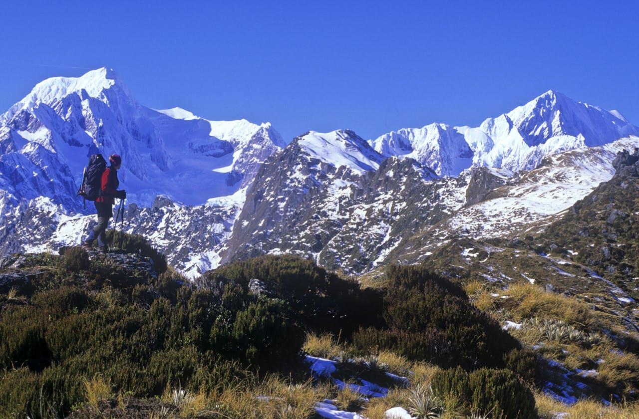 Climbing Mt Fox with stunning views of Tasman and Aoraki/Mt Cook. Photo: Nick Groves