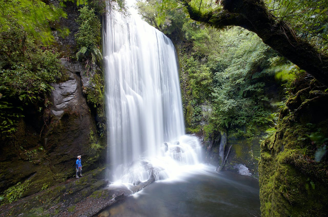Korokoro falls. Lake Waikaremoano. Te Urewera national park. North Island. New Zealand. Photo: Walking Legends
