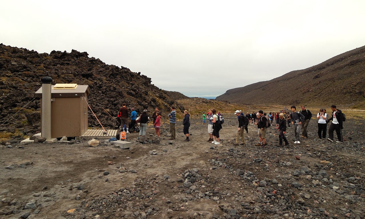 People often walk to the popular Tongariro Alpine Crossing in inappropriate clothing