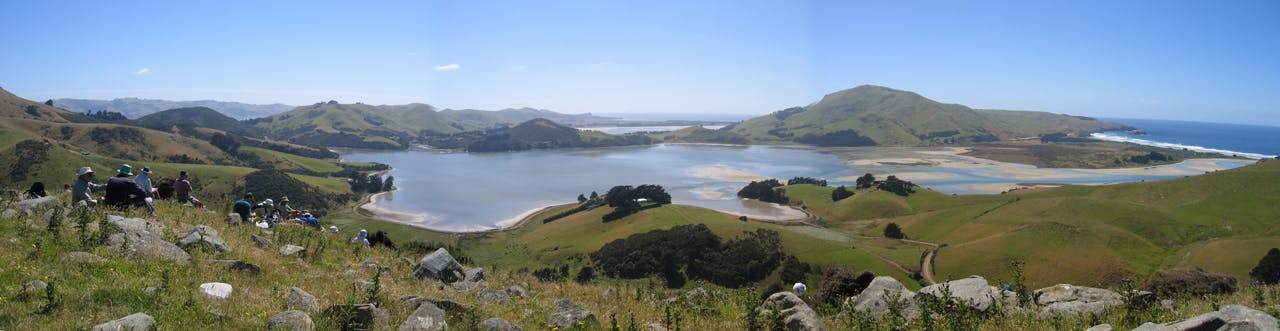 Looking down from Dick Hill to Hoopers Inlet on the Otago Peninsula on a tramping trip during which Kathy Warburton ducked away to grab a geocache along the way. Photo: Kathy Warburton