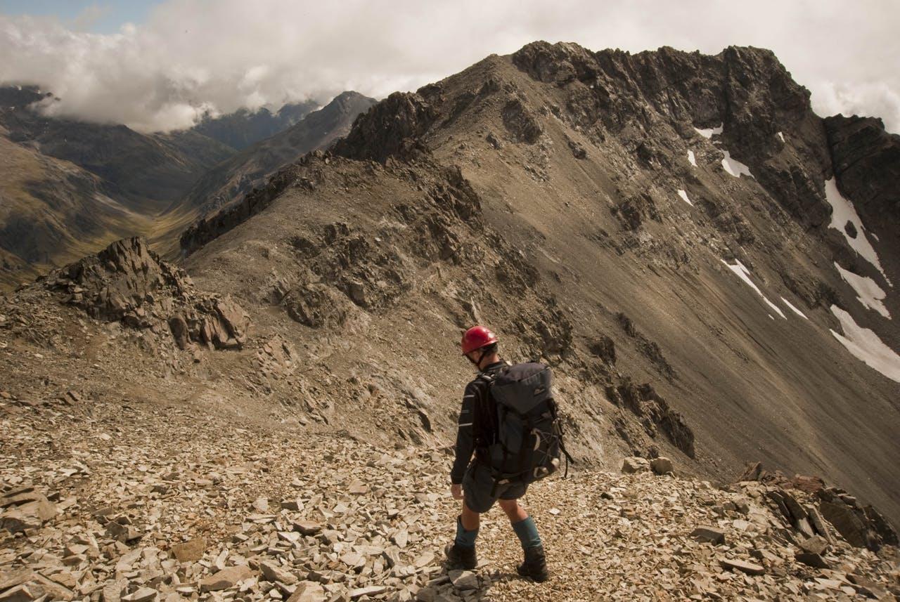 Fraser Crichton on the Polar Range, with Mt Bowers beyond. Photo: Shaun Barnett