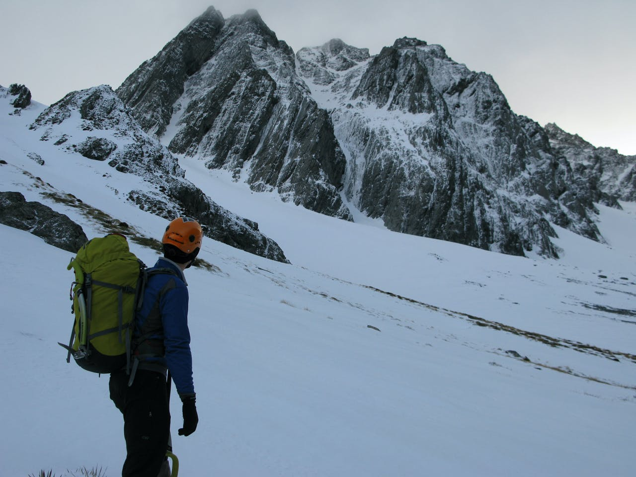 Dasler Pinnacles in winter. The North Ridge is tucked away on the left hand skyline. Photo: Paul Hersey