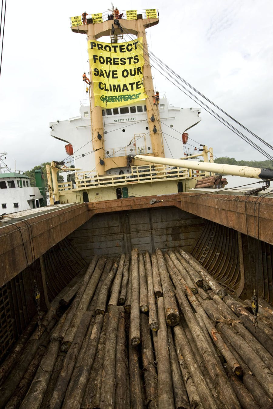 Greenpeace activists hang a banner reading 'Protect Forests Save Our Climate' from the Harbour Gemini ship and halt the loading of illegally logged trees from the rainforests of Papua New Guinea.