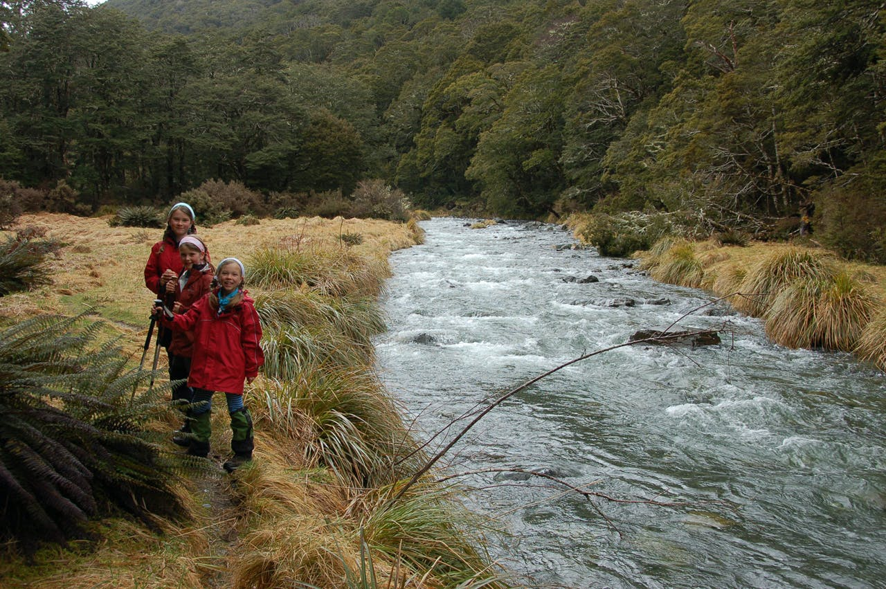Three friends enjoy the Right Branch of the Maruia river, Lewis Pass. Photo: David Norton