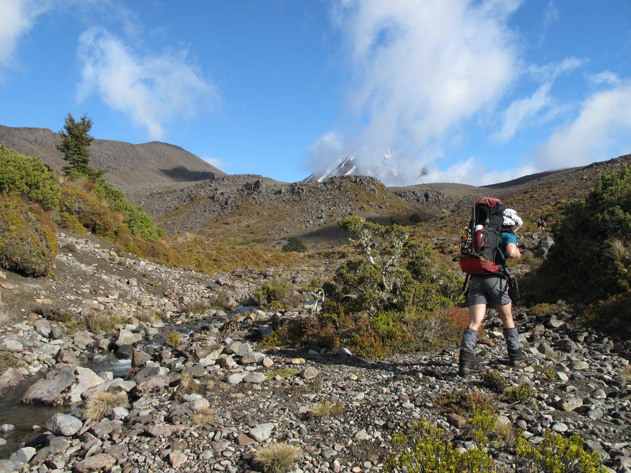 Tramping up the Waihohonu to reach the campsite. Photo: Richard Davies