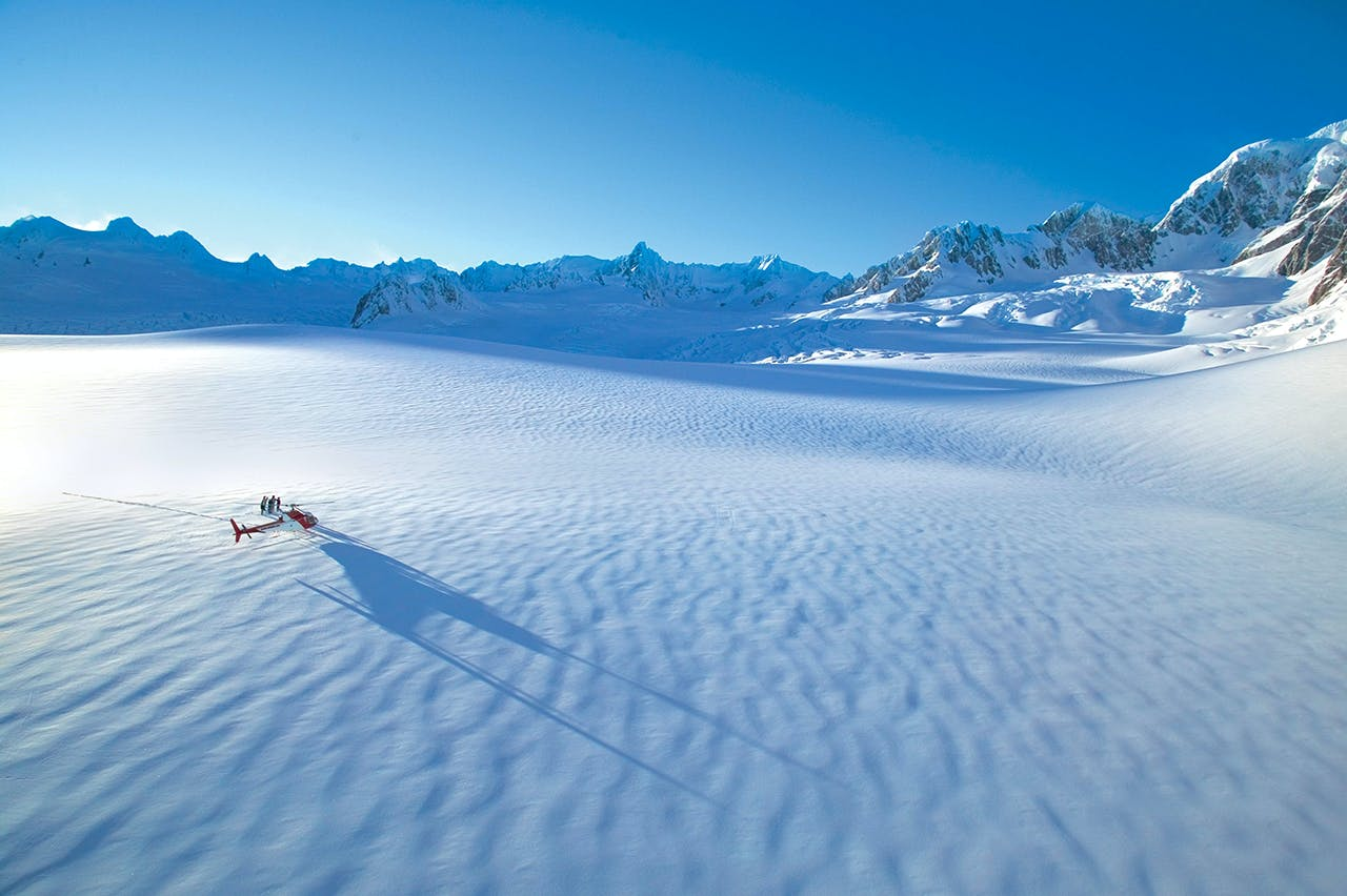 Helicopter landing on Franz Josef glacier. Photo: Supplied