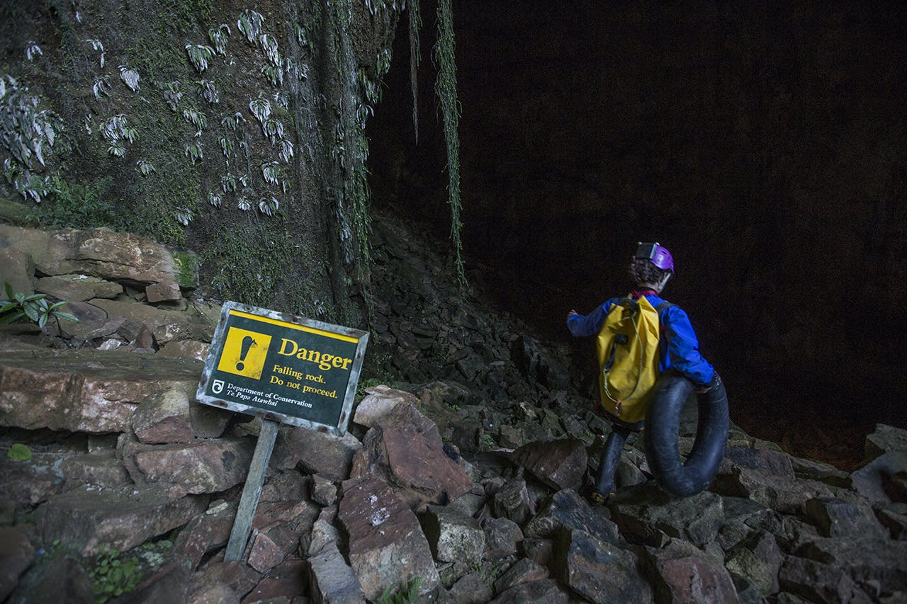 A caver enters the Fox River cave system. Photo: Neil Silverwood