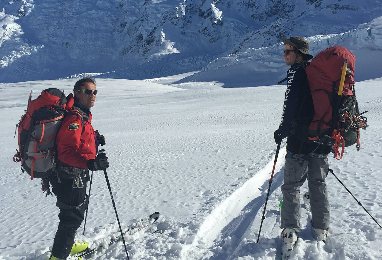Guy Cotter ski touring with his son Elmo. Photo: Supplied