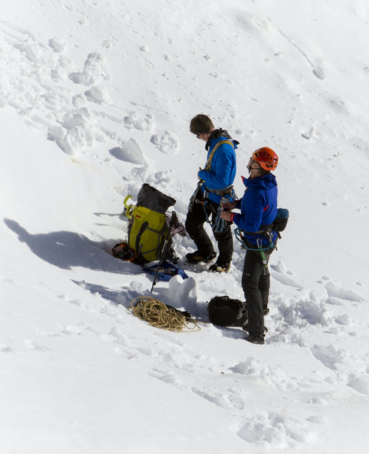 Jamie Vinton-Boot and Paul Hersey gear up at the base of Honey Badger. Photo: Paul Hersey