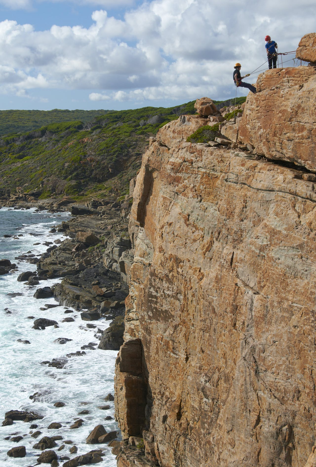 Abseilers on Wilyabrup Sea Cliffs, day 5 on C2C. Photo: Melanie Ball
