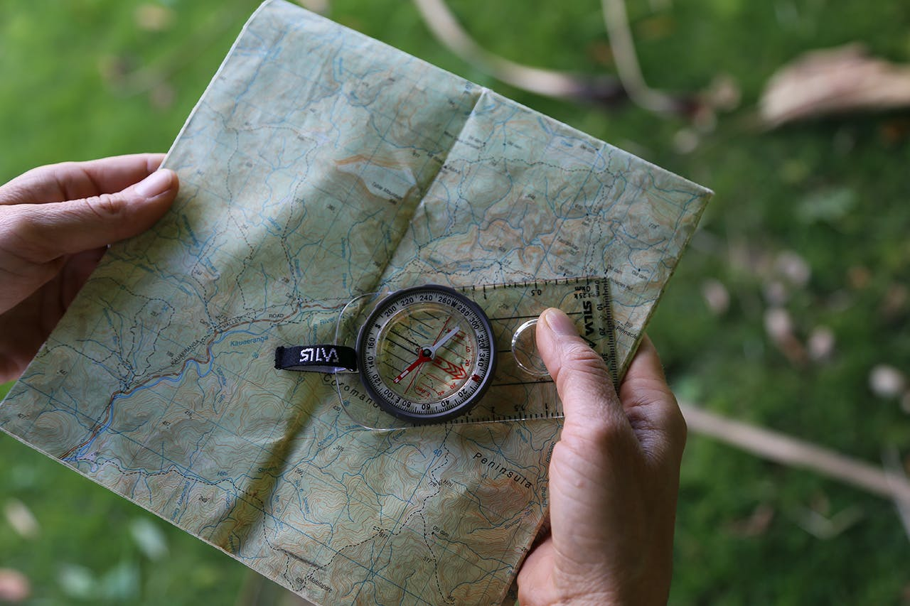 Use the compass baseplate edge to make a line from your current location to your destination