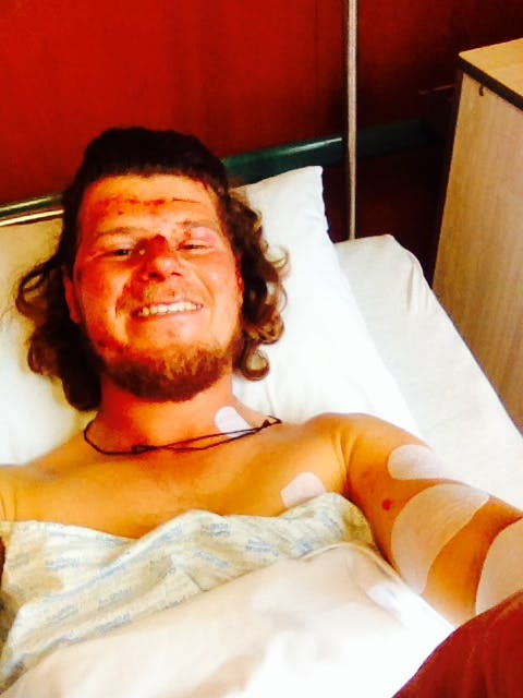 Hareb recovering from his injuries in hospital. Photo: Supplied
