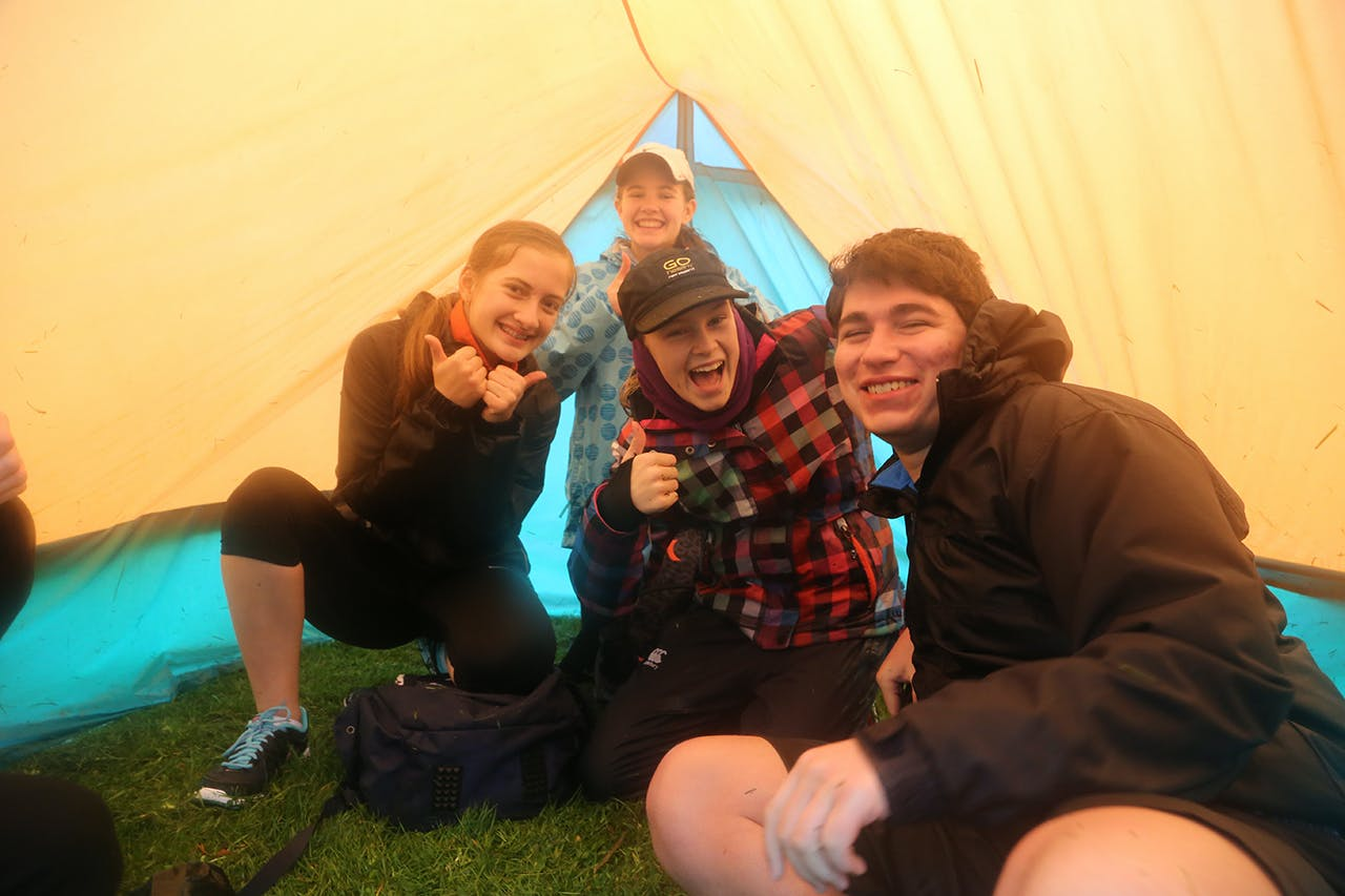 Celebrating the first tent they'd ever successfully pitched. Photo: Meghan Walker