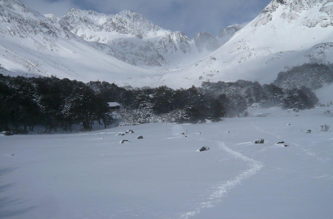 Heavy snow at Upper Travers Hut. Photo: Geoffrey Clark