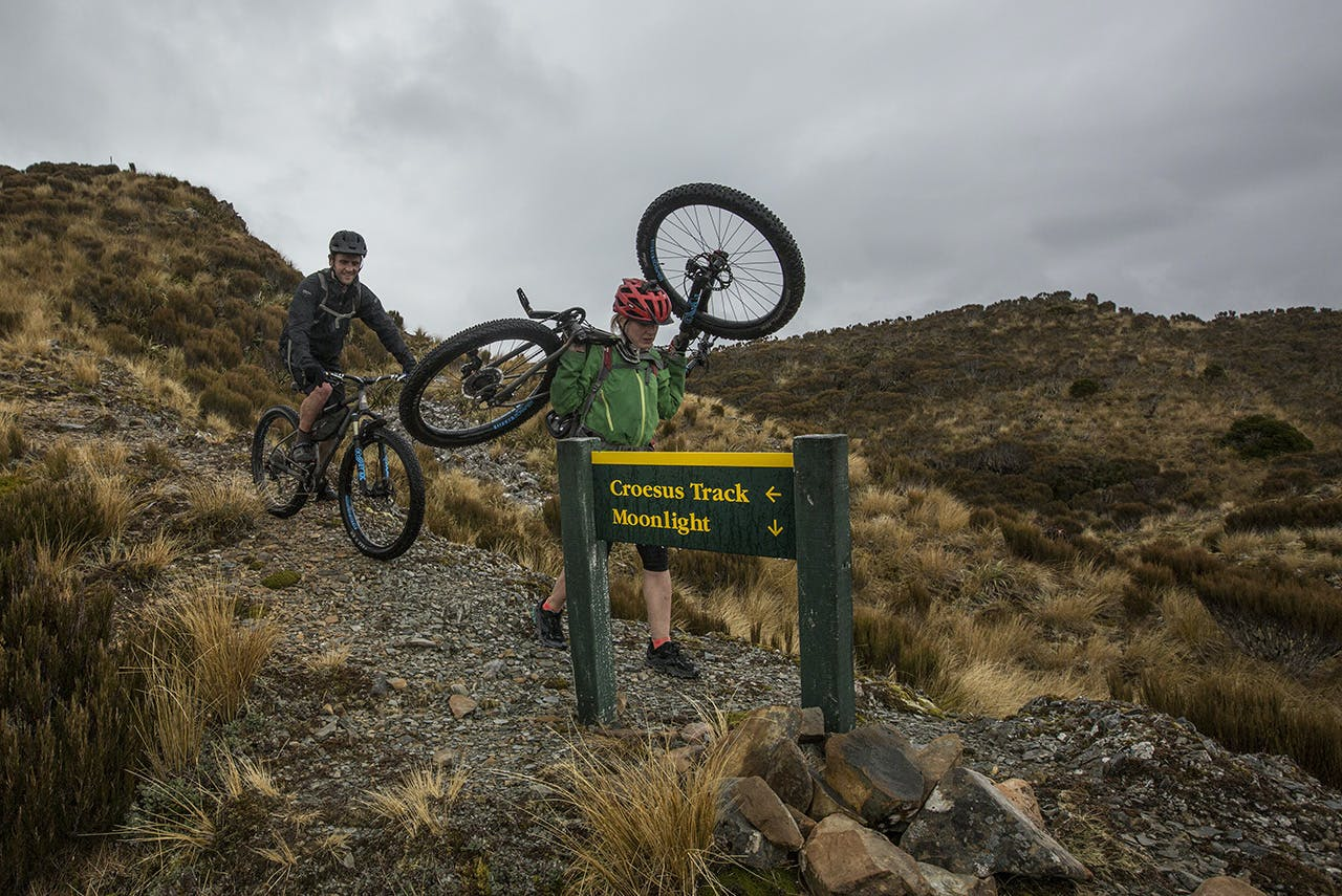 Mountain bikers traverse the Croesus-Moonlight Route. The new track will be dual-use and gently graded throughout its length. Photo: Neil Silverwood
