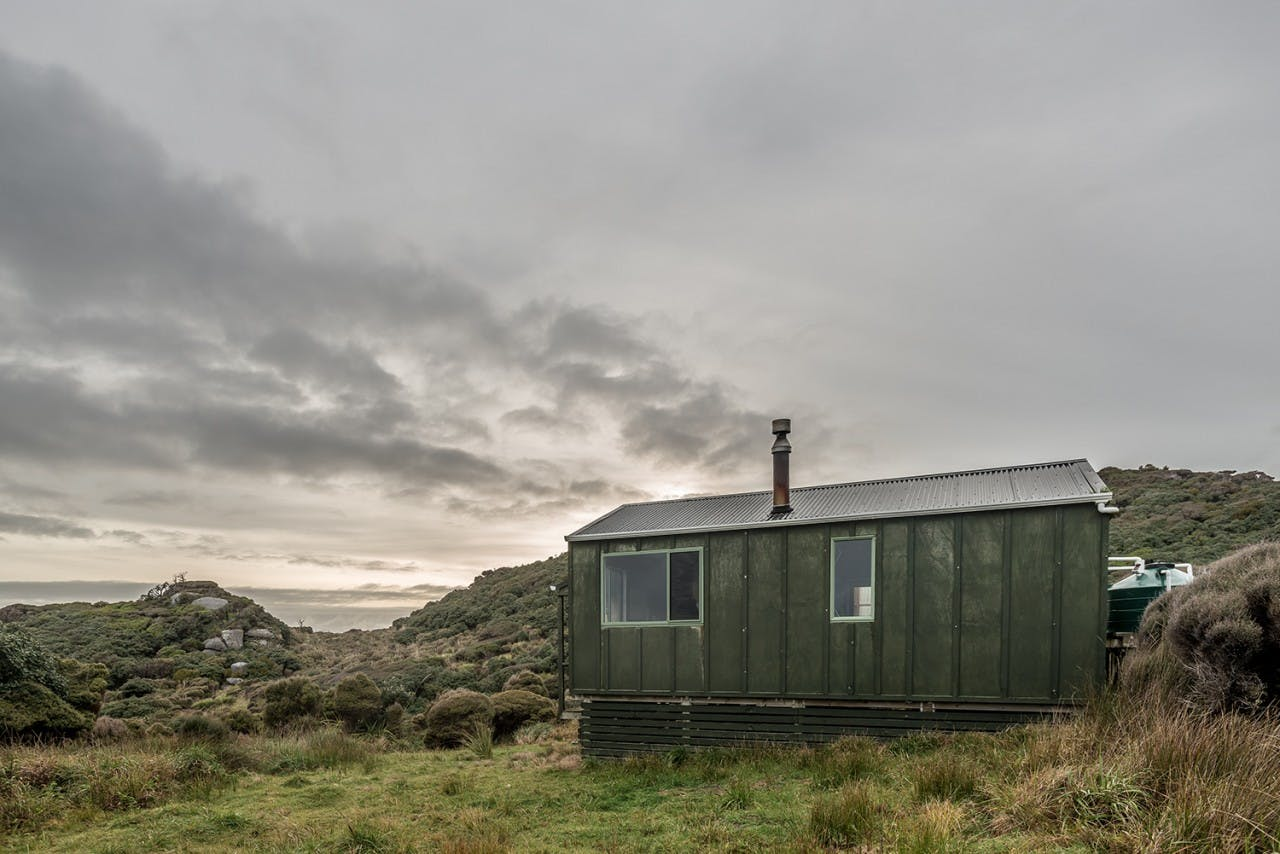 Long Harry Hut is at the northern end of Rakiura, on the North West Circuit. Photo: Danilo Hegg