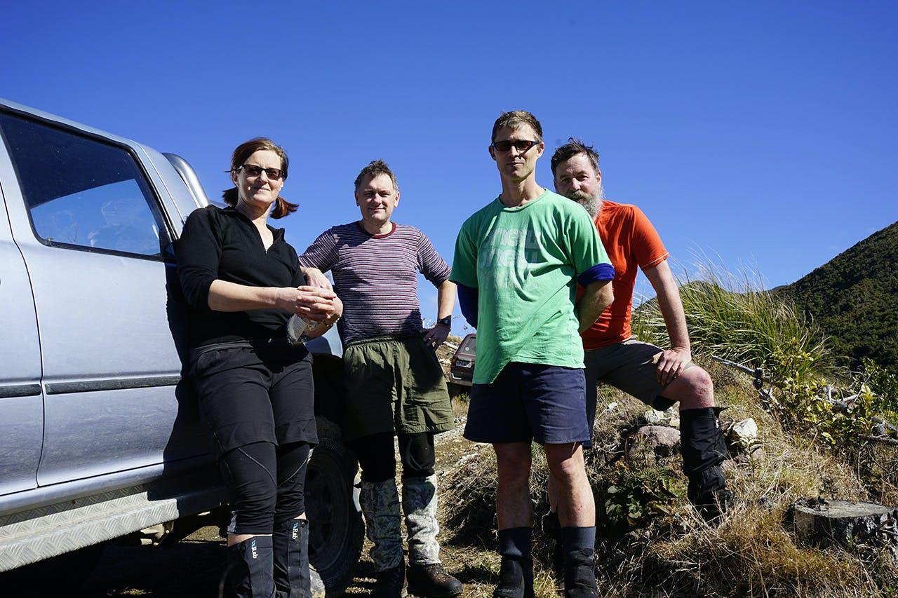 Palmy Pine Pullers, from left: Fiona Burleigh, Ian Rasmussen, Ben Douglas, Anthony Behrens. Photo: Anthony Behrens