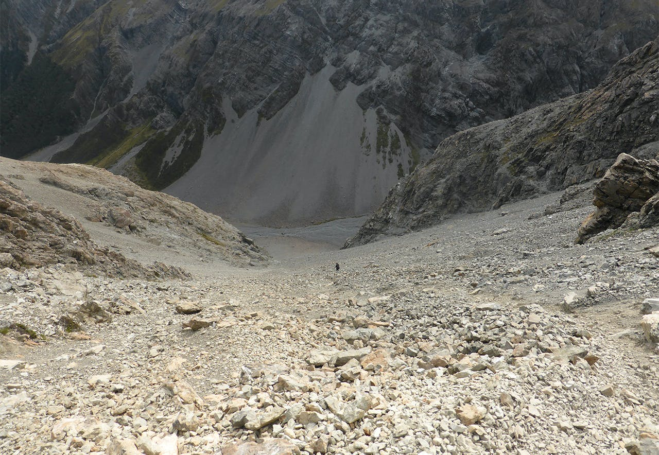The scree slope giving access to the Crow Valley. Photo: Tania Seward