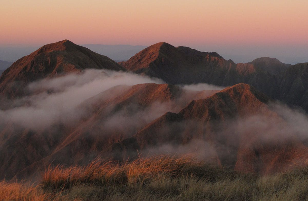 Climb Arete Peak for sunrise and sunset views of the Tararua's interior. Photo: Richard Davies