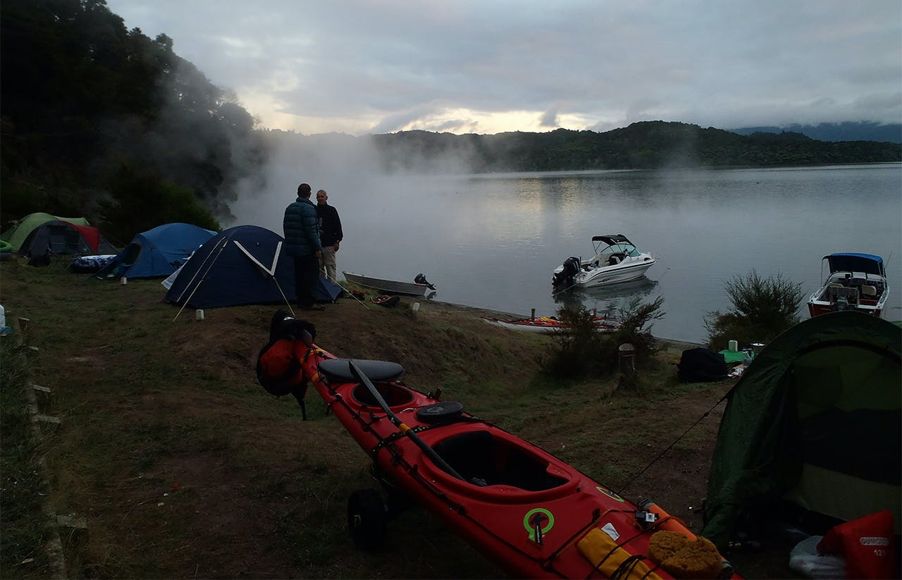 Camping at Hot Water Beach, Lake Tarawera. Photo: Ruth Henderson