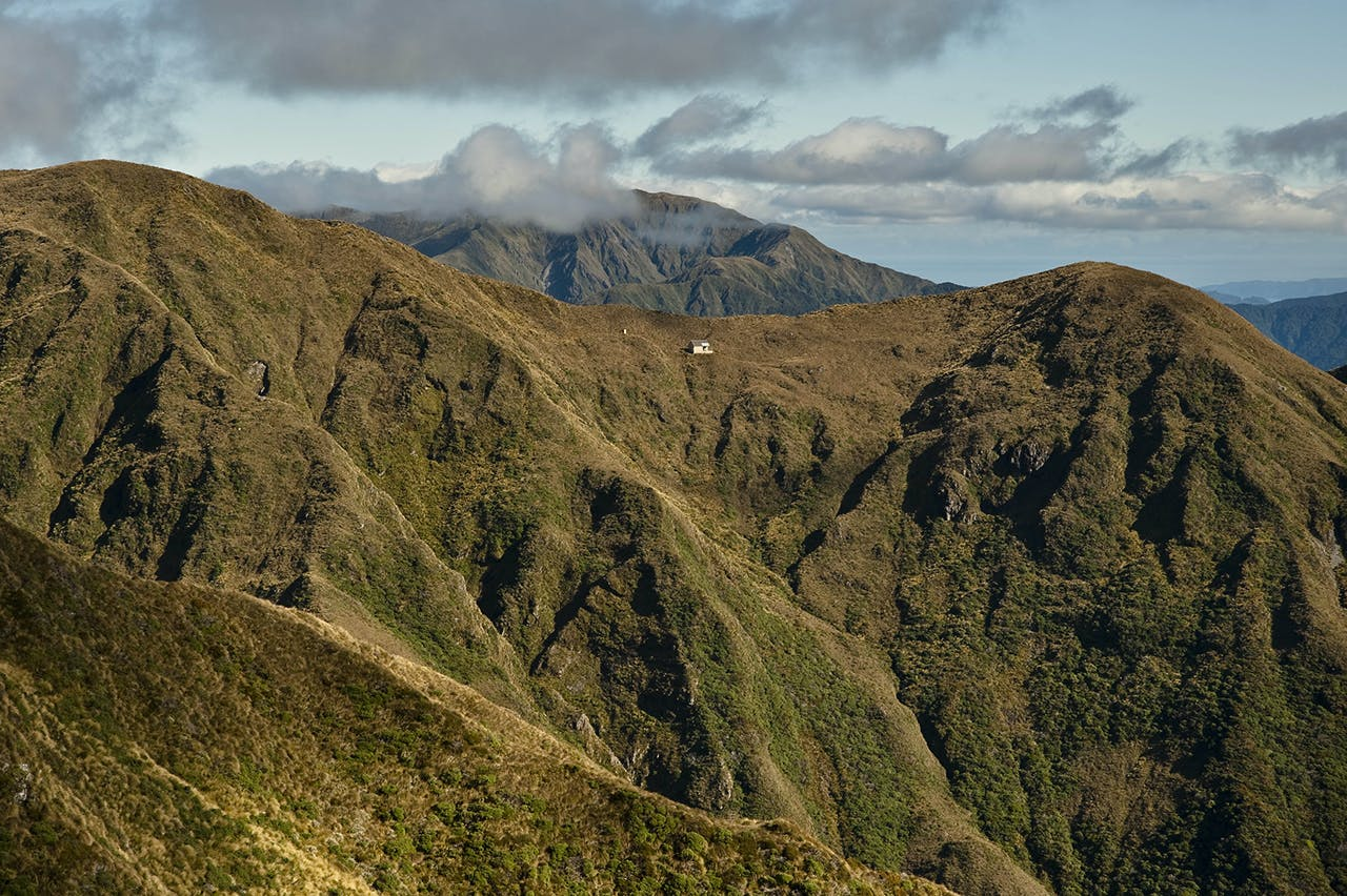 Tarn Ridge Hut offers accommodation for peak baggers. Photo: Shaun Barnett/Black Robin Photography