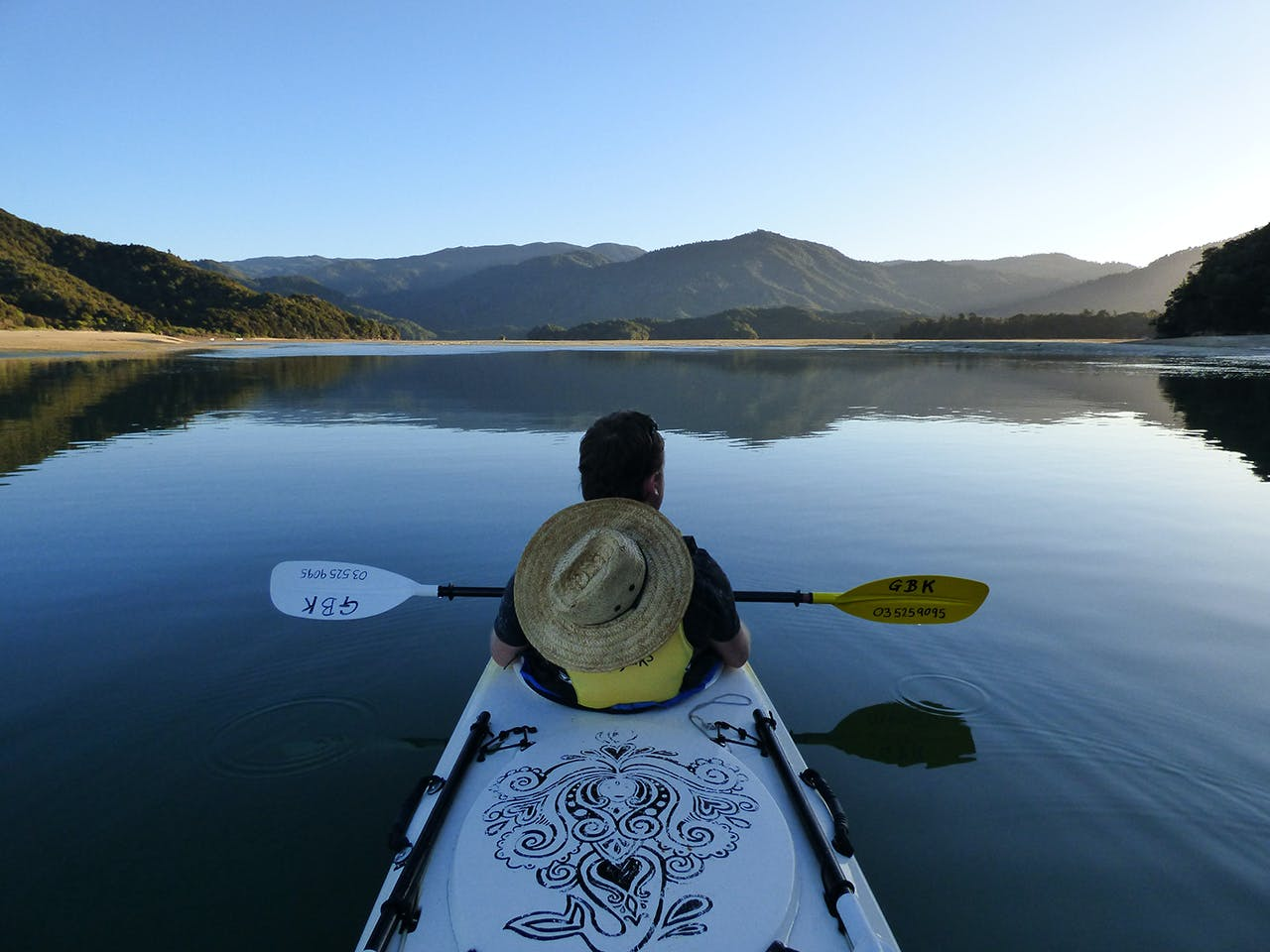 Enjoying the still waters of Awaroa Inlet. Photo: Matthew Pike