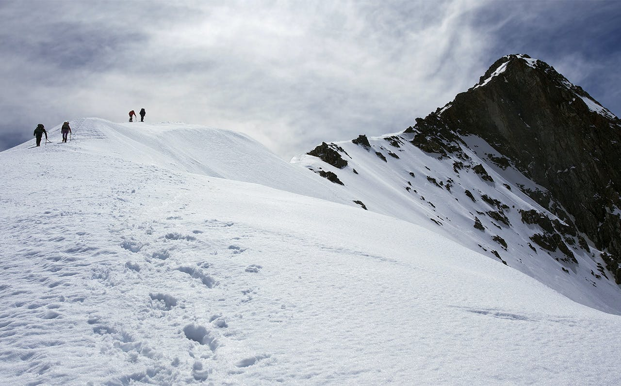 Climbers negotiate firm snow toward the top of Tappy. Photo: Ray Salisbury