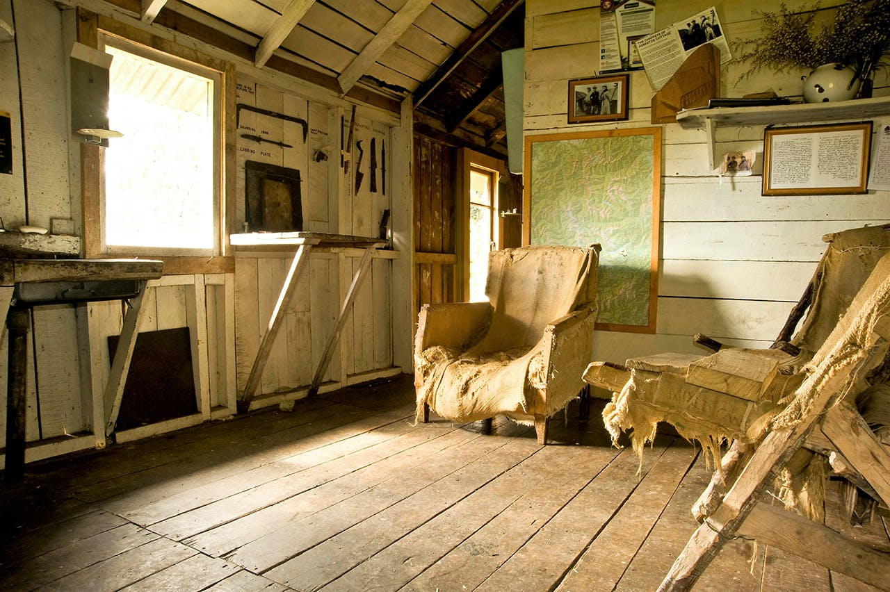 The interior of Asbestos Cottage, home to Annie Fox and Henry Chaffey for 40 years. Photo: Shaun Barnett/Black Robin Photography
