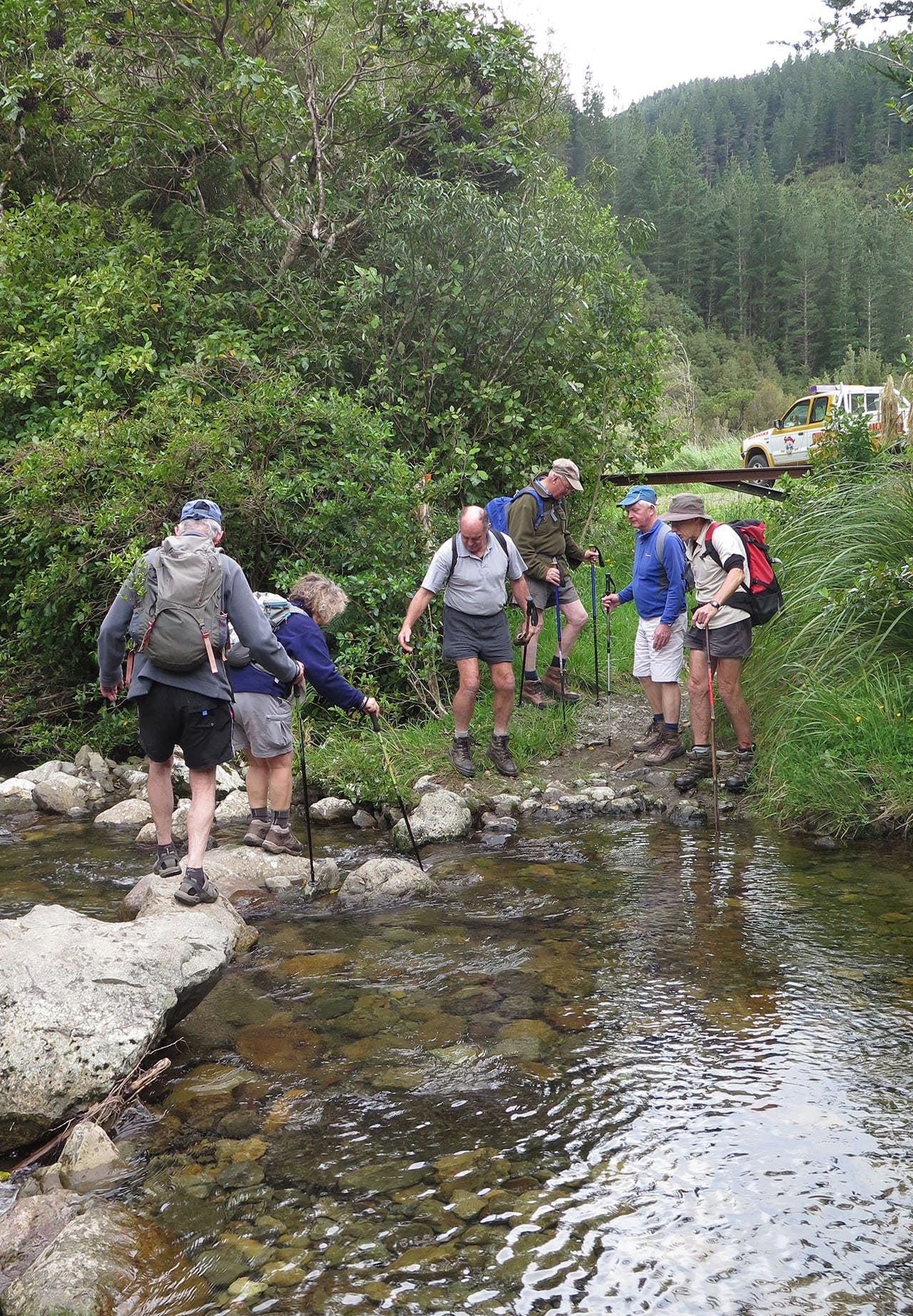 Crossing Makakahi Stream. Photo: Mike Cole