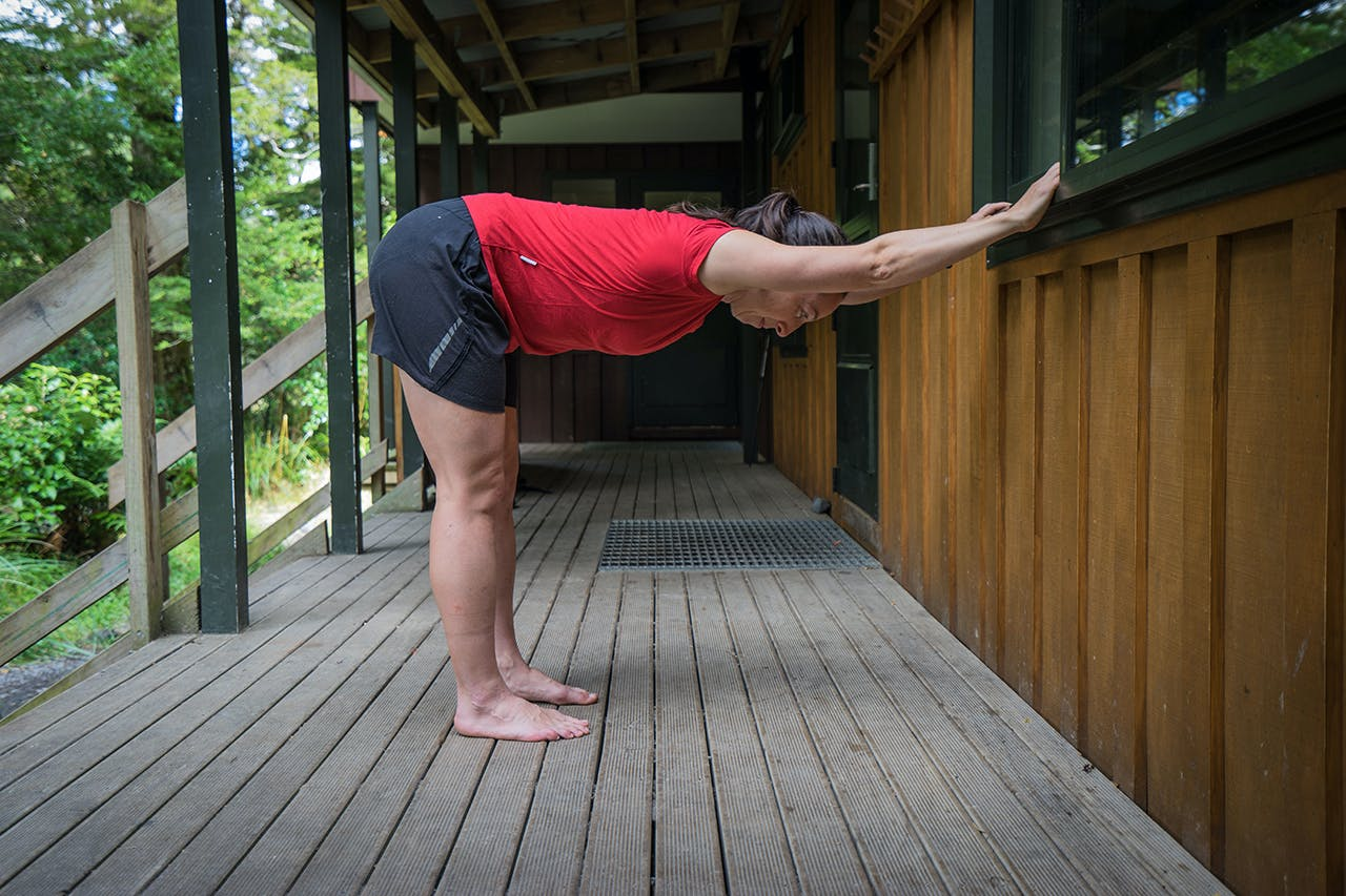 The box pose will stretch your hamstrings and calves. Photo: Tony Gazley
