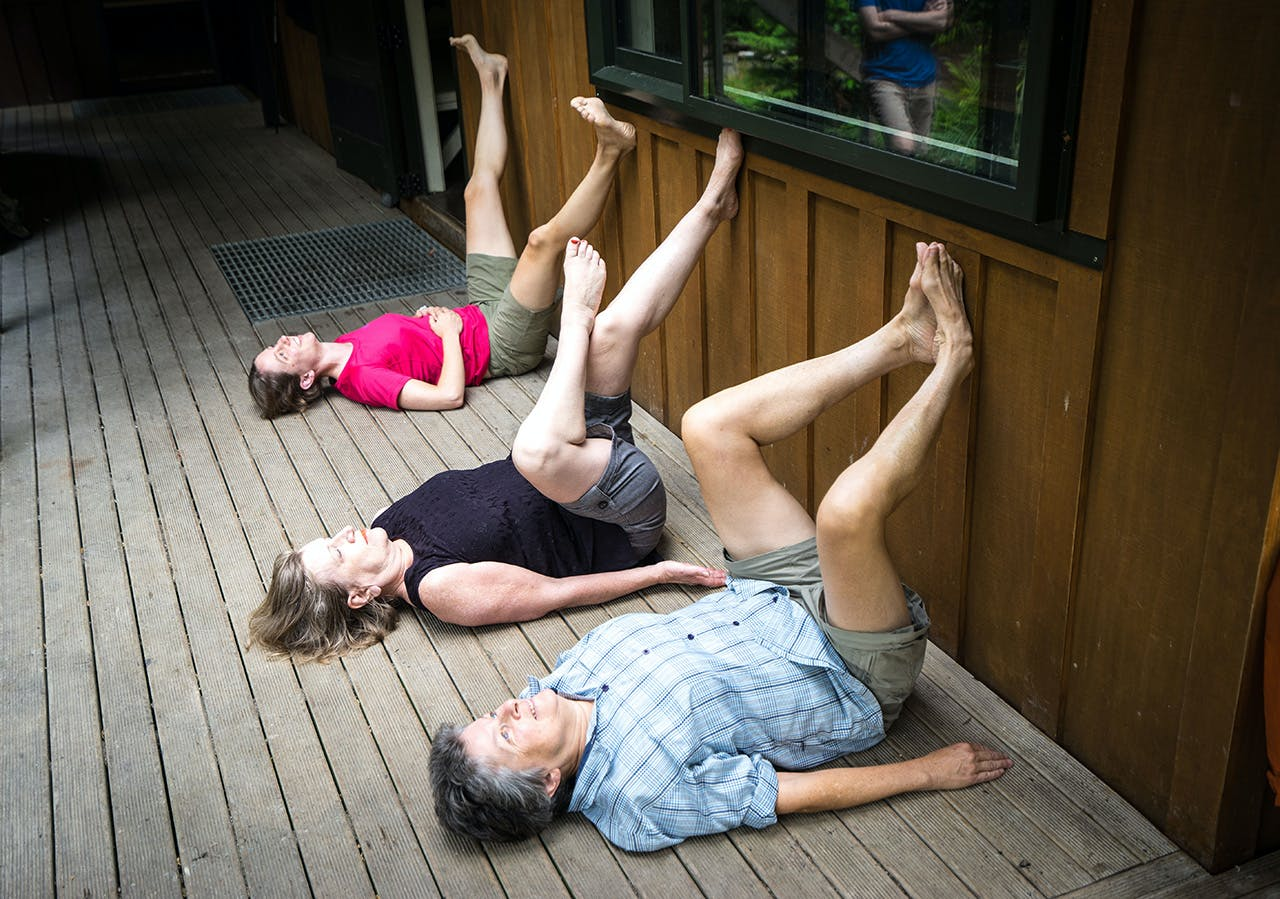 From front: Hip and groin stretch, hip and buttock stretch, and wide leg variation. Photo: Tony Gazley